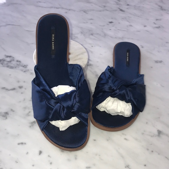 Zara satin blue sandals